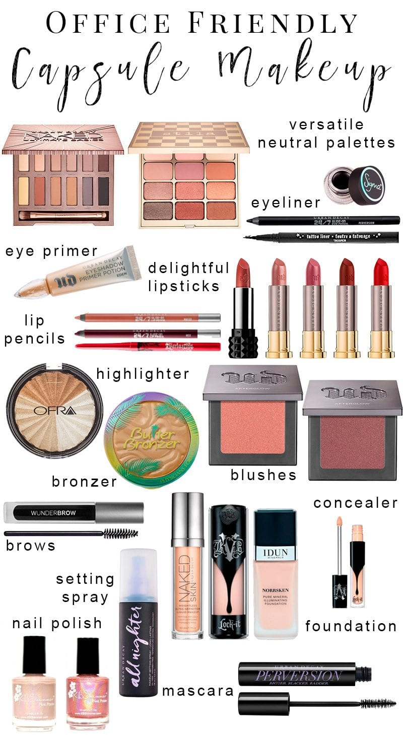 Office Friendly Capsule Makeup Collection - I've put together a versatile neutral makeup wardrobe perfect for the conservative office environment so that you won't be bored to tears. You'll be able to use these items for everyday work makeup or job interview makeup, just about anytime you need to be conservative and classy. #officefriendly #interview #makeup #capsulemakeup
