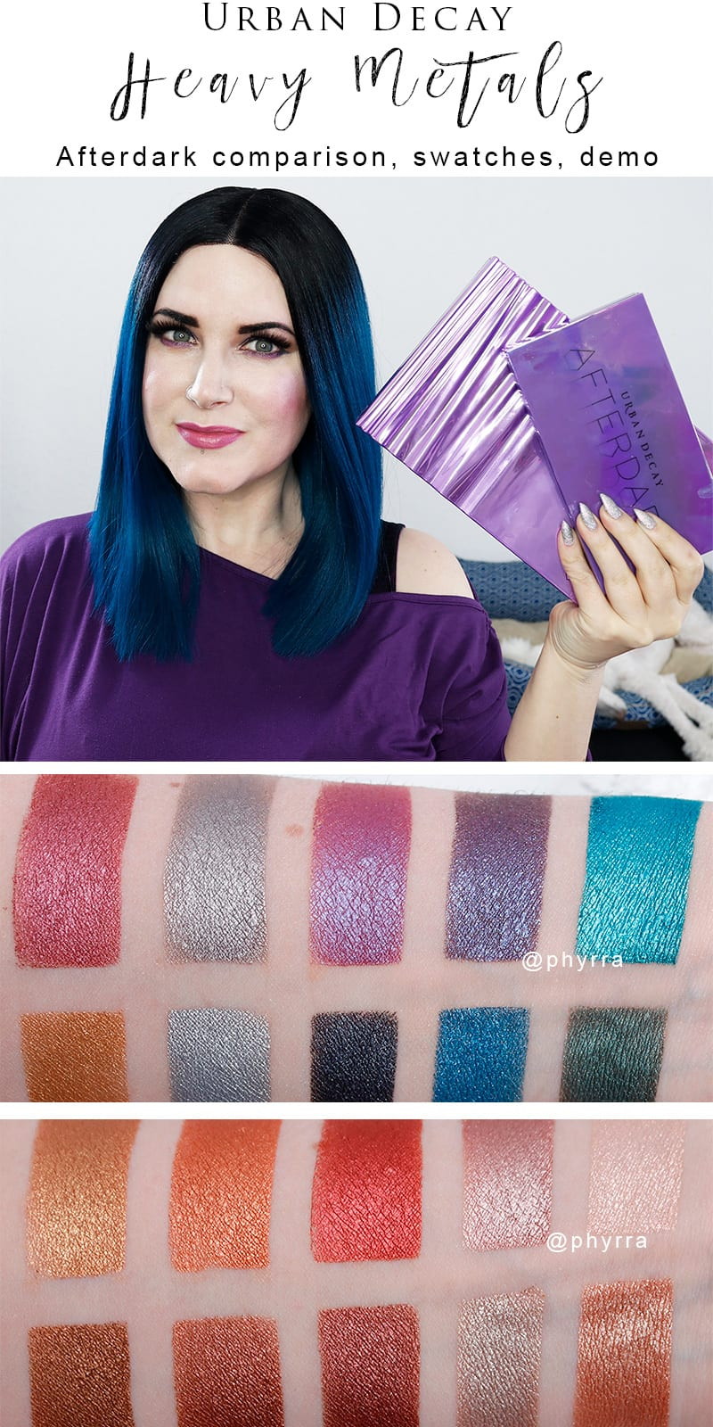 Urban Decay Heavy Metals Palette - I've got my Urban Decay Heavy Metals Palette review, Afterdark comparison, makeup tutorial and video to share with you today!