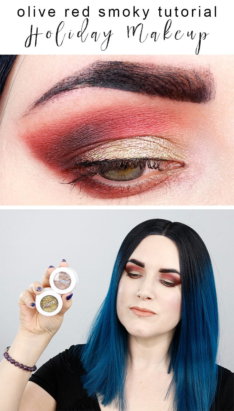 Olive Red Smoky Holiday Tutorial - a fun cruelty free makeup tutorial with Urban Decay, Too Faced and Colour Pop.
