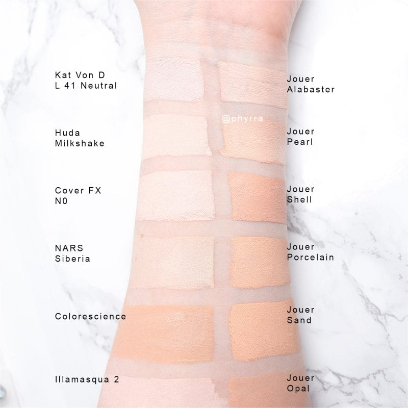 Jouer Essential High Coverage Creme Foundation swatches on pale skin