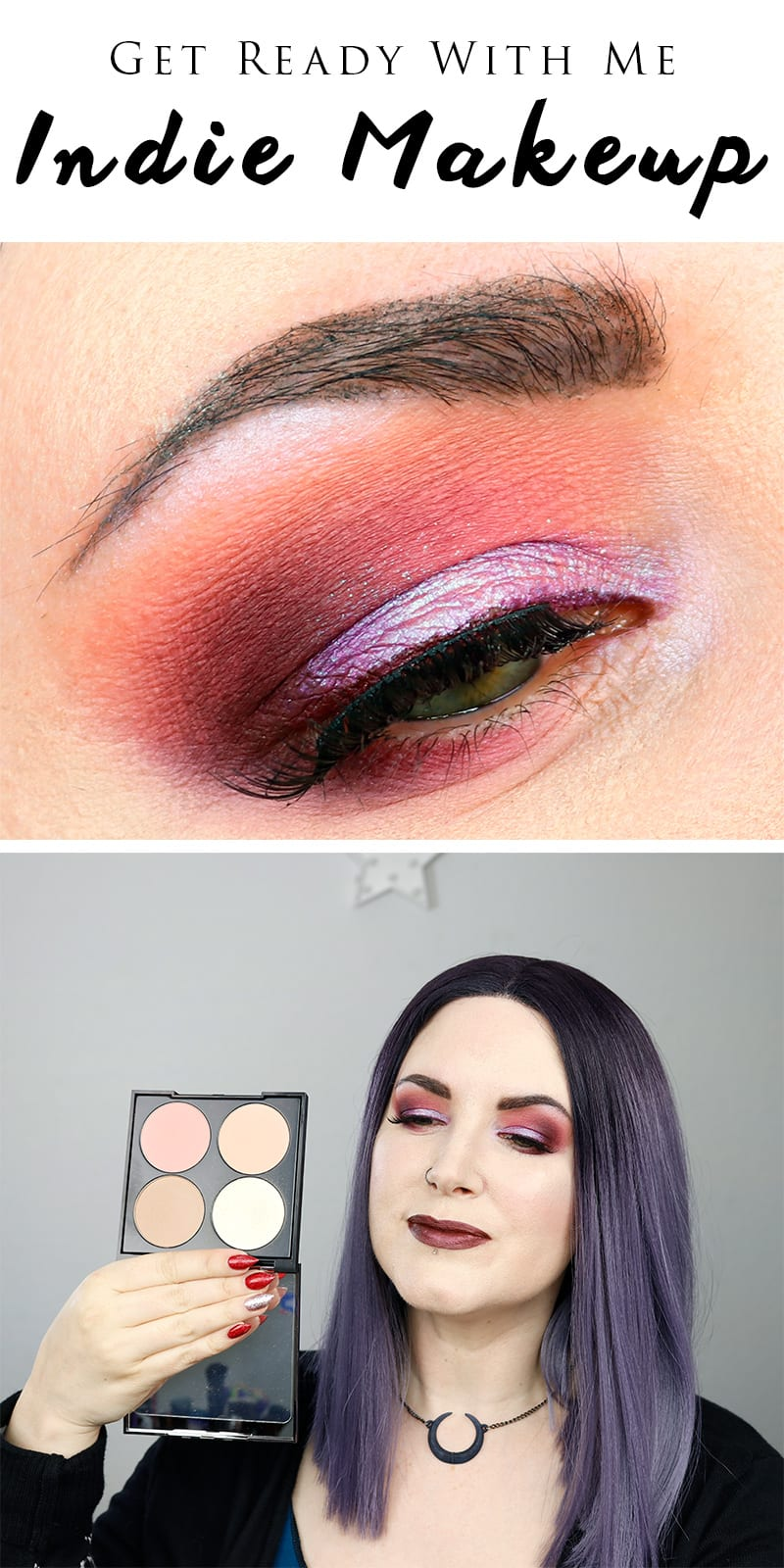 Get Ready With Me Indie Makeup - a burgundy and purple duochrome look with Makeup Geek, Suva Beauty, Aromaleigh and Melt Cosmetics.