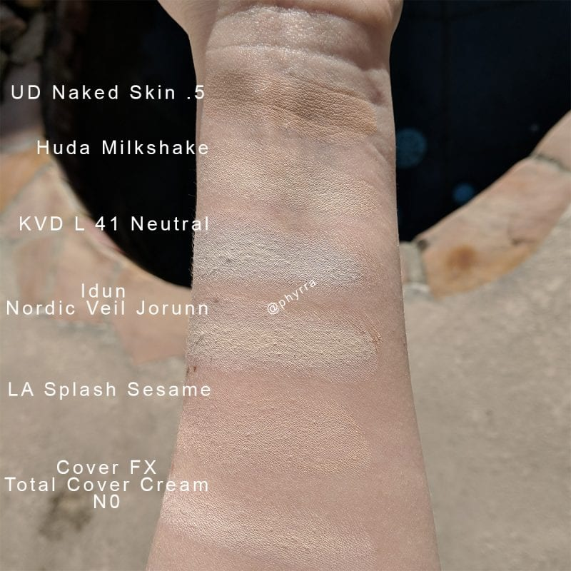 Idun Minerals Nordic Veil Foundation in Jorunn swatched against other pale foundations