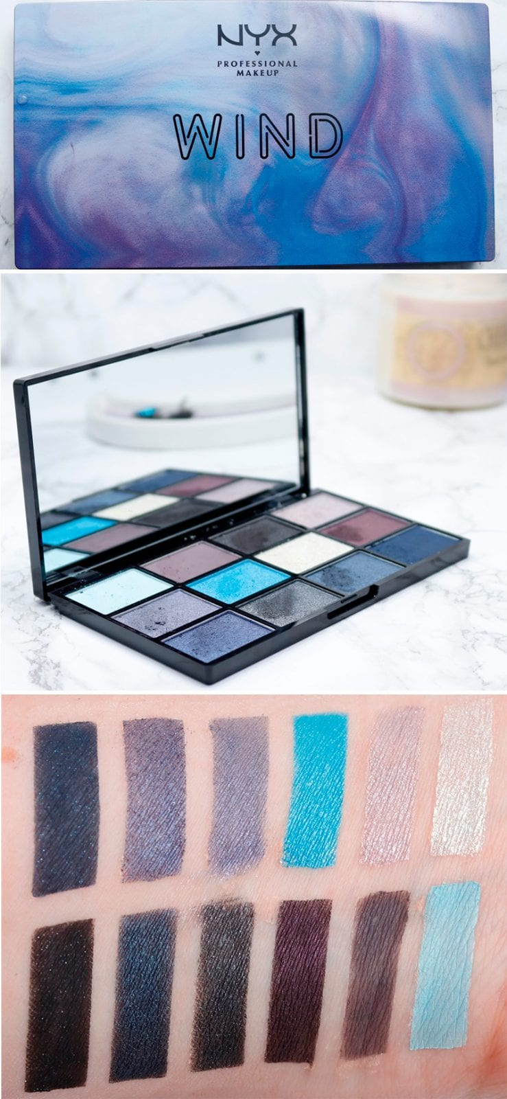 Nyx In Your Element Wind Palette Review, Swatches Look. Do you love cool toned eyeshadows such as blues, grays and violet? Then you need to see the Nyx Wind palette!