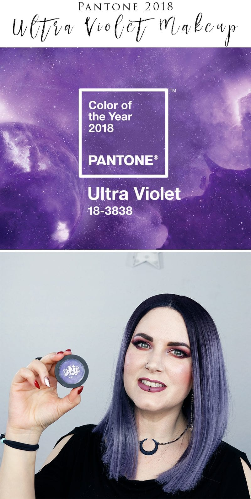 Pantone Color of the Year 2018 Makeup - The Pantone Color of 2018 is Ultra Violet Purple. I LOVE Purple! So I am sharing my favorite purple eyeshadows, blushes, nail polishes, lipsticks, lipglosses, lip pencils, eye pencils and more.