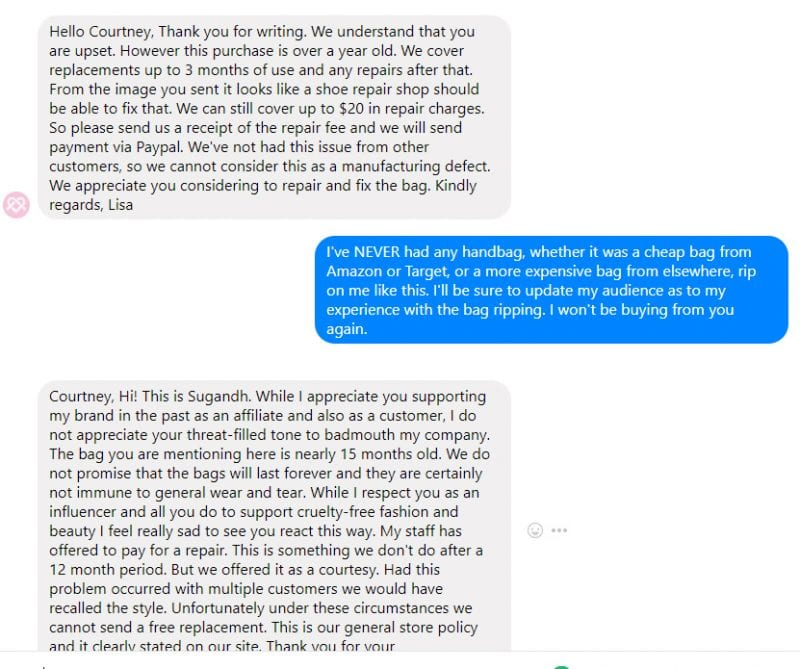 The owner of Gunas, Sugandh, threatened me for saying I was going to update my audience on what happened with my Naomi bag ripping.