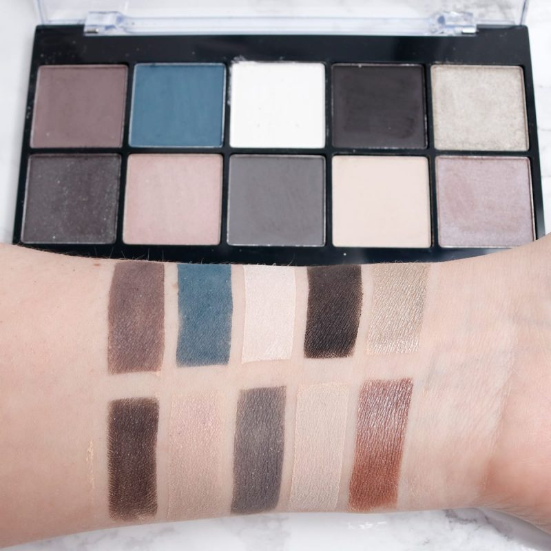 Nyx Perfect Filter Palette in Gloomy Days swatched on pale skin. It's an awesome, cool-toned palette.