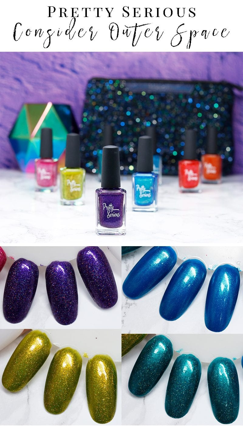Pretty Serious Consider Outer Space Collection Review and Swatches. If you want unique holographic polish, you need to see this collection!