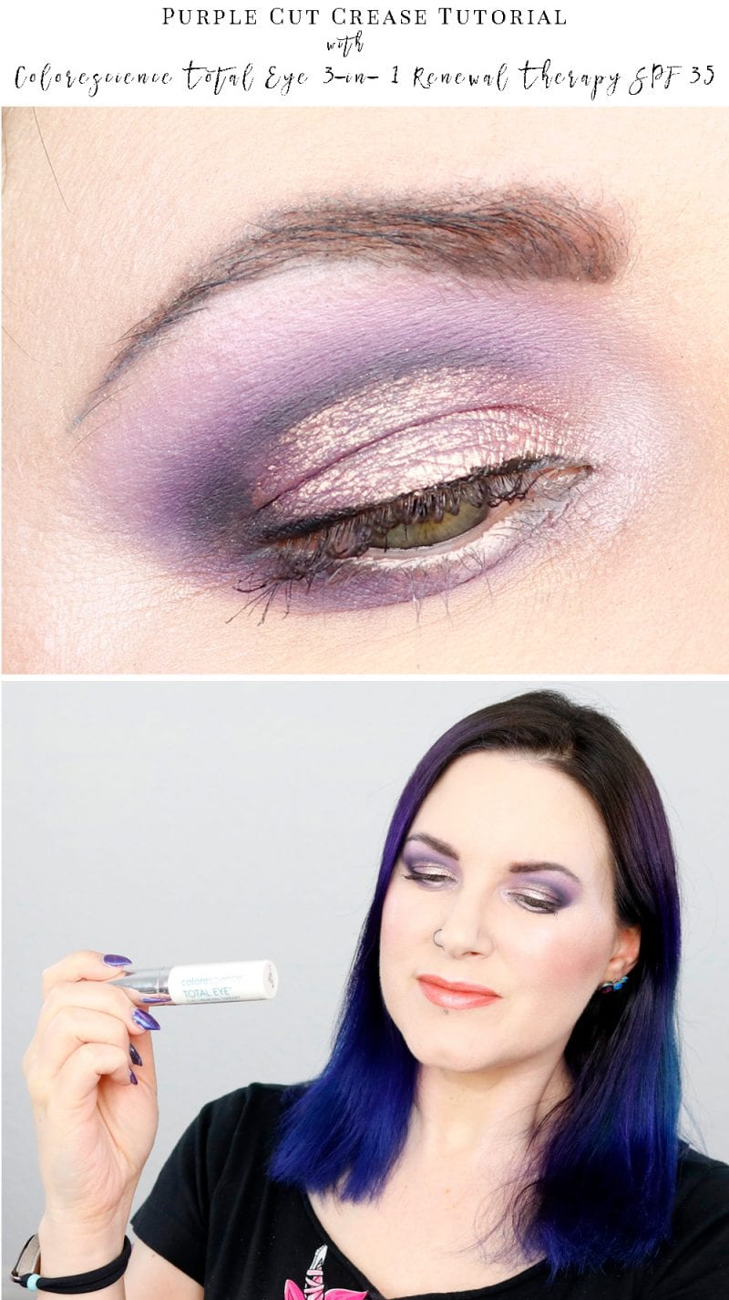 Purple Cut Crease Tutorial featuring the Colorescience Total Eye 3-in- 1 Renewal Therapy SPF 35 Primer.