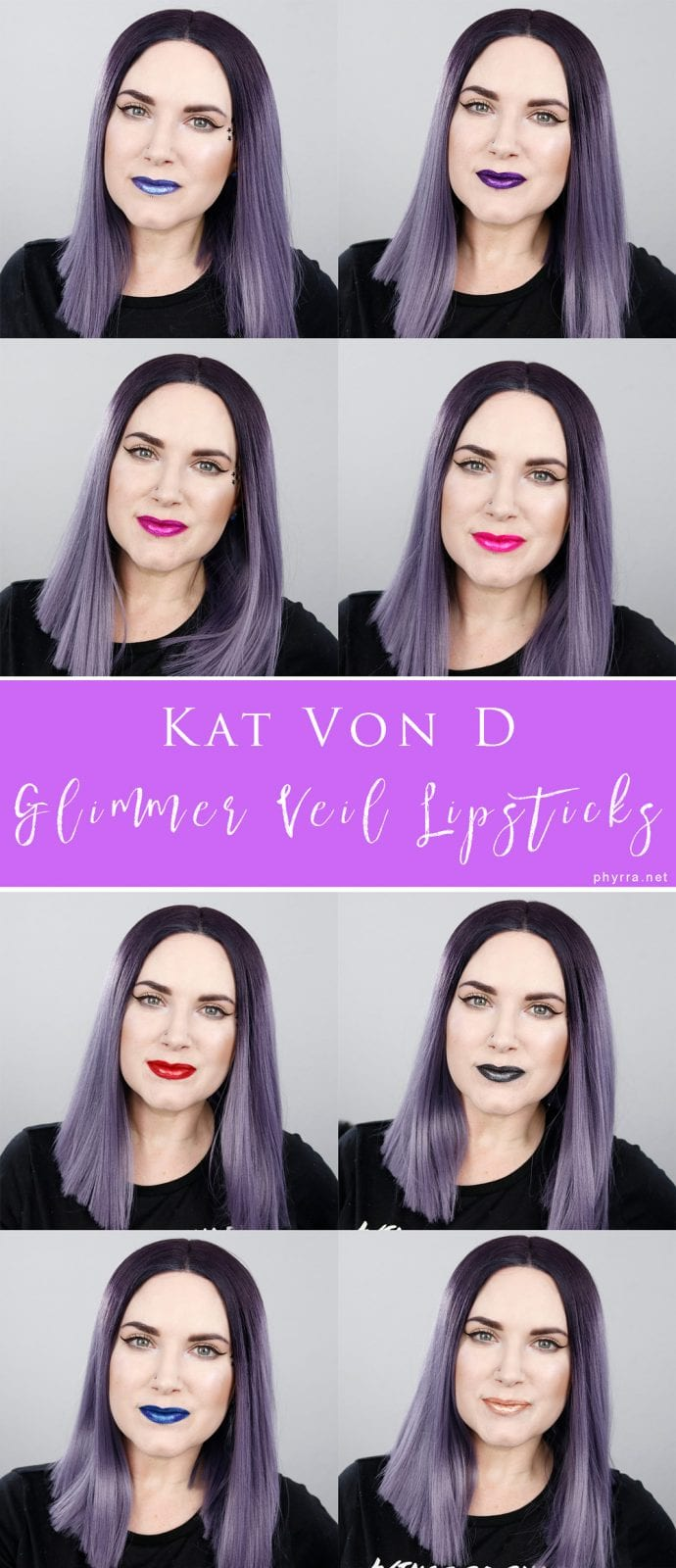 Kat Von D Everlasting Glimmer Veil Liquid Lipsticks Review, Swatches, Looks. Make any lipstick look amazing and 3d with these lip toppers! Cruelty-free and vegan!
