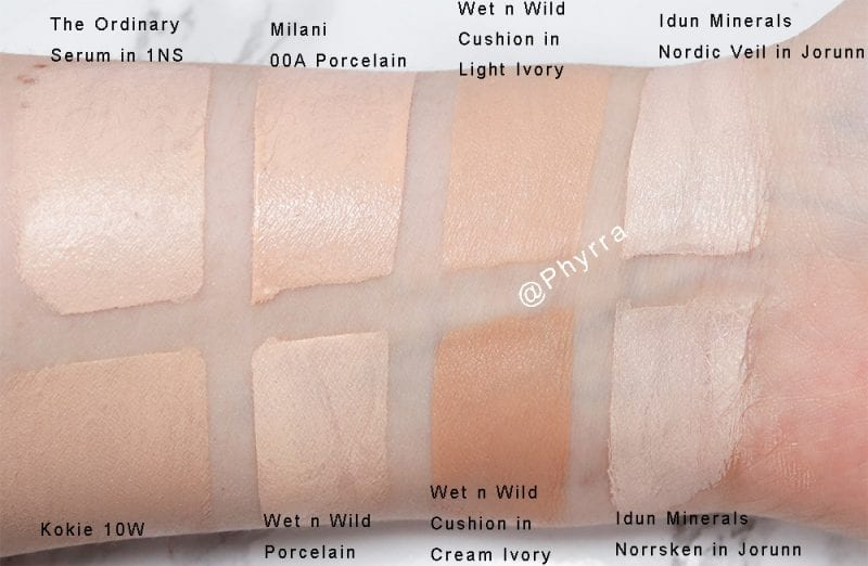 Wet n' Wild Cushion Foundation Swatches and Comparison on Pale Skin