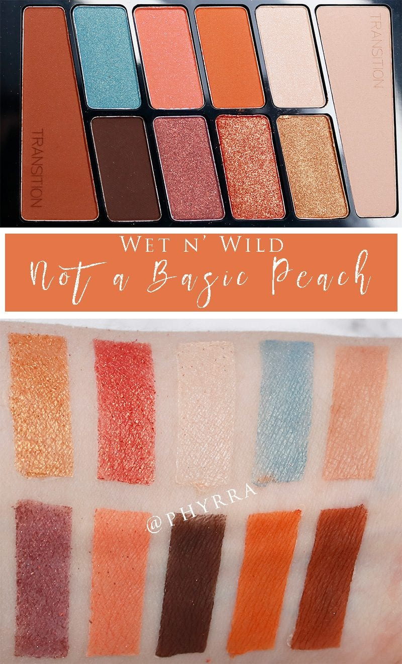 Wet n' Wild Not a Basic Peach Palette swatches on pale skin