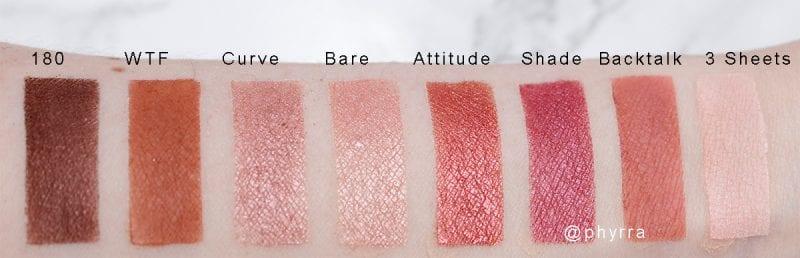 Urban Decay Backtalk Palette Eyeshadow Swatches