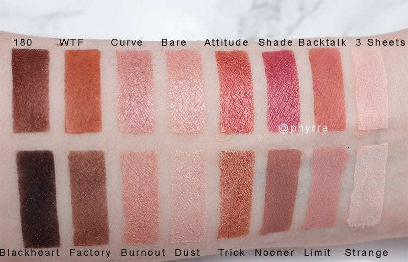 Urban Decay Backtalk Palette Comparison Swatches on pale skin