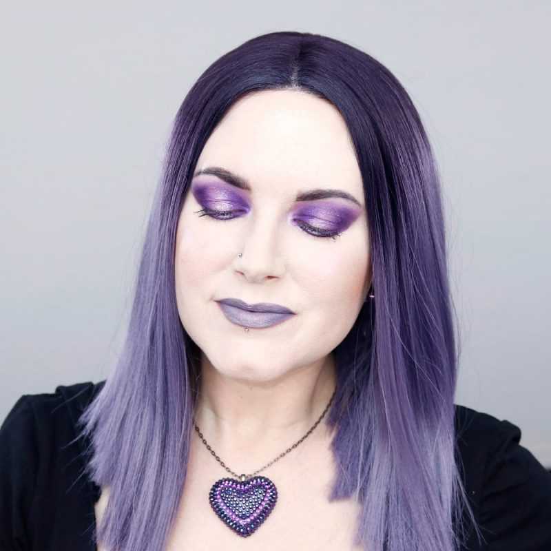 Wearing Wet n' Wild Lavender Crown with Gunmetal Heart at the center of lips