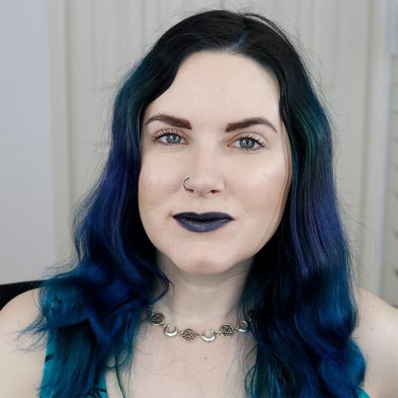 Nyx Go Rogue Liquid Suede Metallic Lipstick on Fair Skin