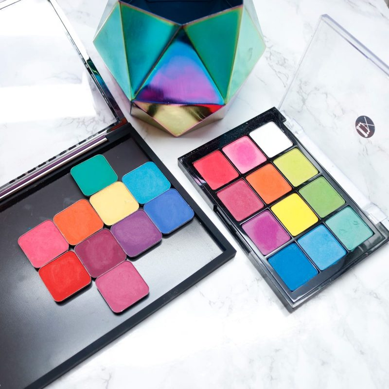 Makeup Geek Power Pigments vs Viseart Editorial Brights Palette