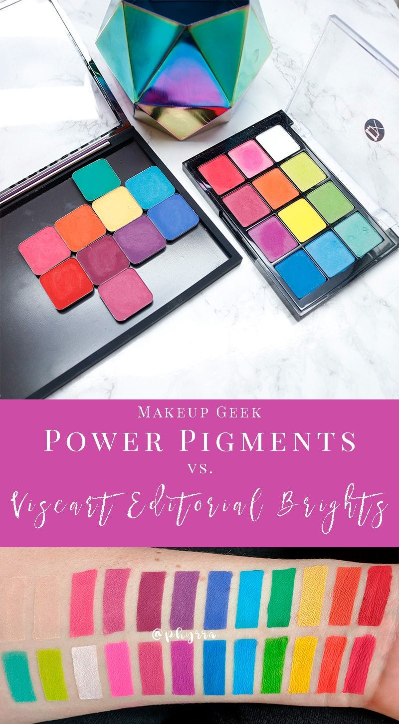Makeup Geek Power Pigments vs Viseart Editorial Brights Palette Swatches and Comparison