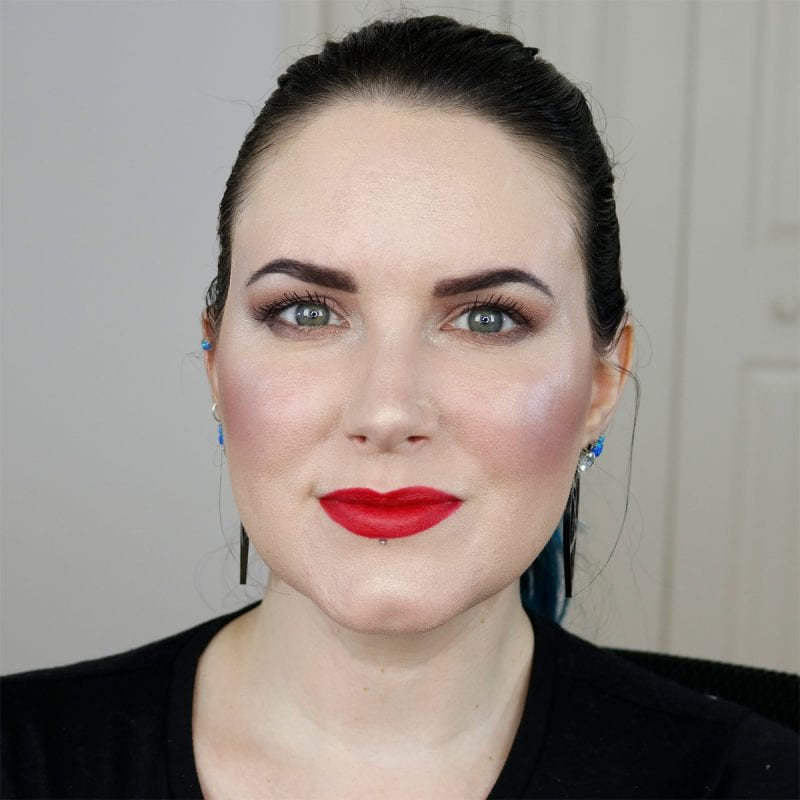 Wearing Nyx Pin Up Pout Lipstick in Lucy on Fair Skin
