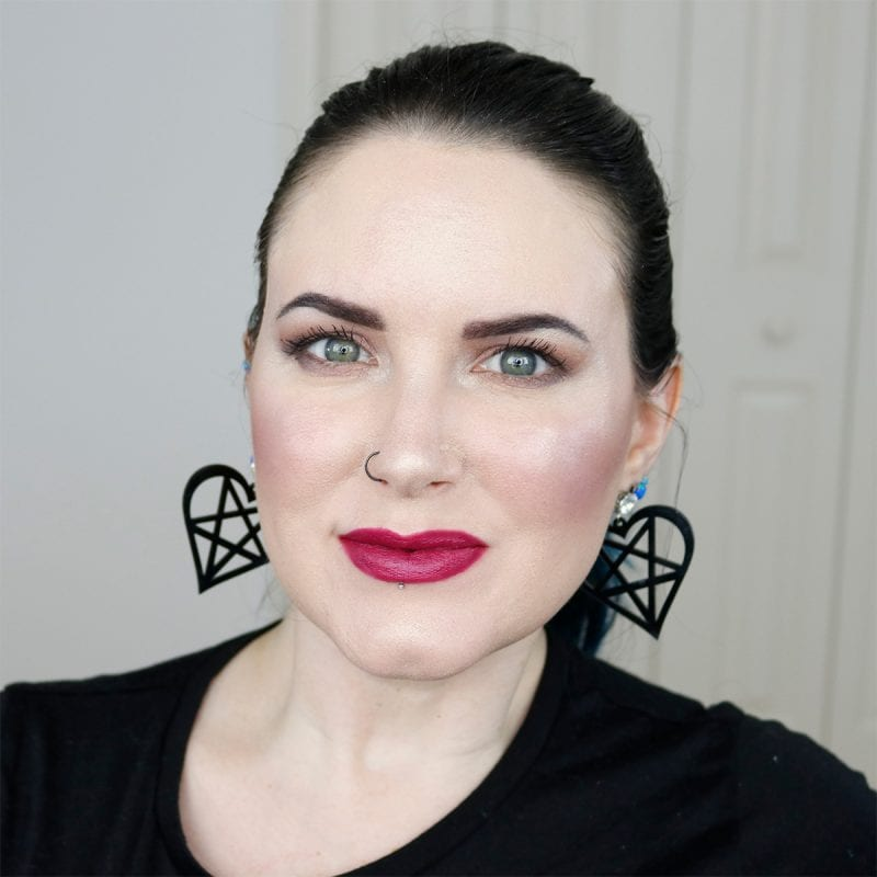 Urban Decay Vice Lipstick in Afterdark swatched on fair skin