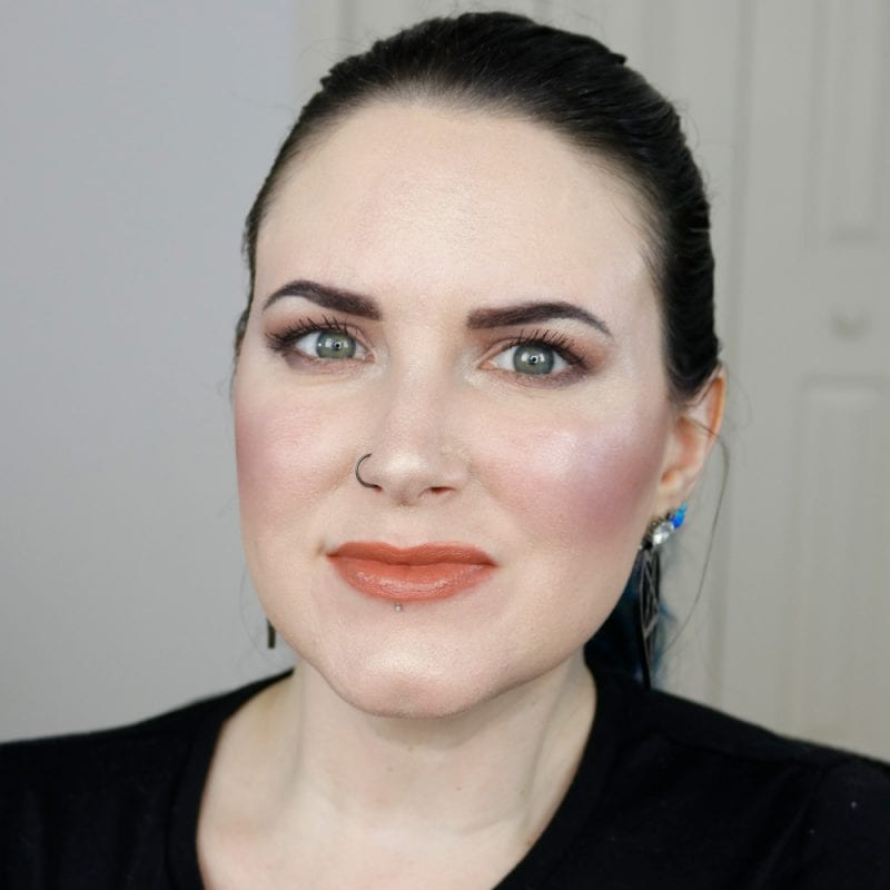 Urban Decay Naked Heat Vice Lipstick in Fuel 2.0 swatched on pale skin