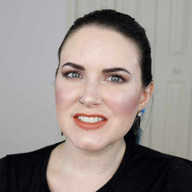 Urban Decay Naked Heat Vice Lipstick in Fuel 2.0 swatched on fair skin