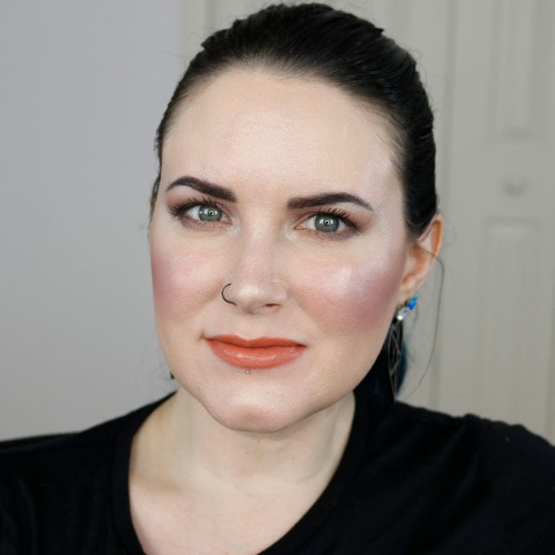 Urban Decay Naked Heat Vice Lipstick in Fuel swatched on pale skin