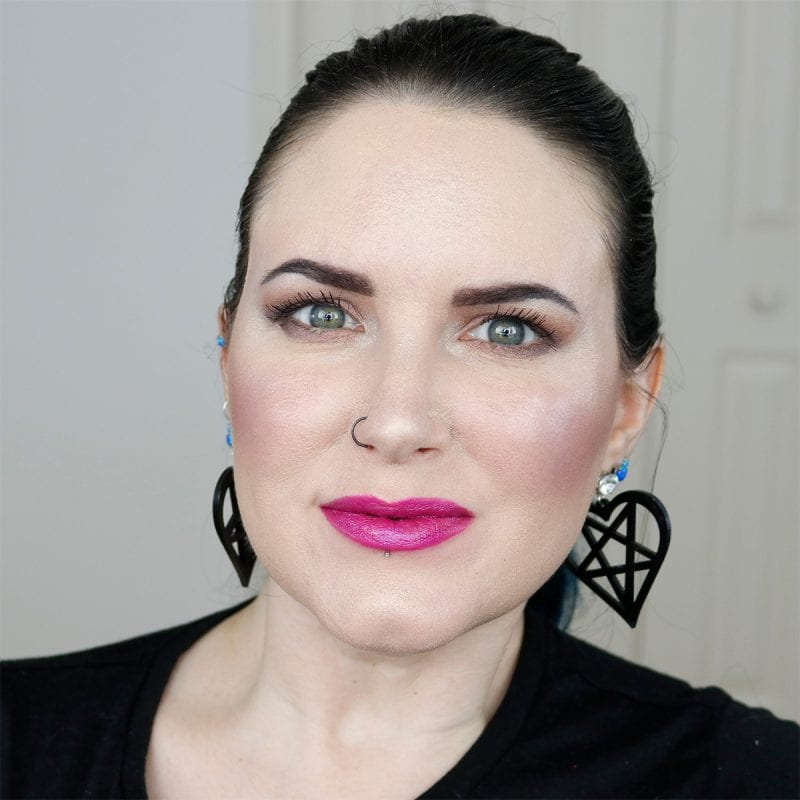Urban Decay Vice Lipstick in Heartache swatched on fair skin