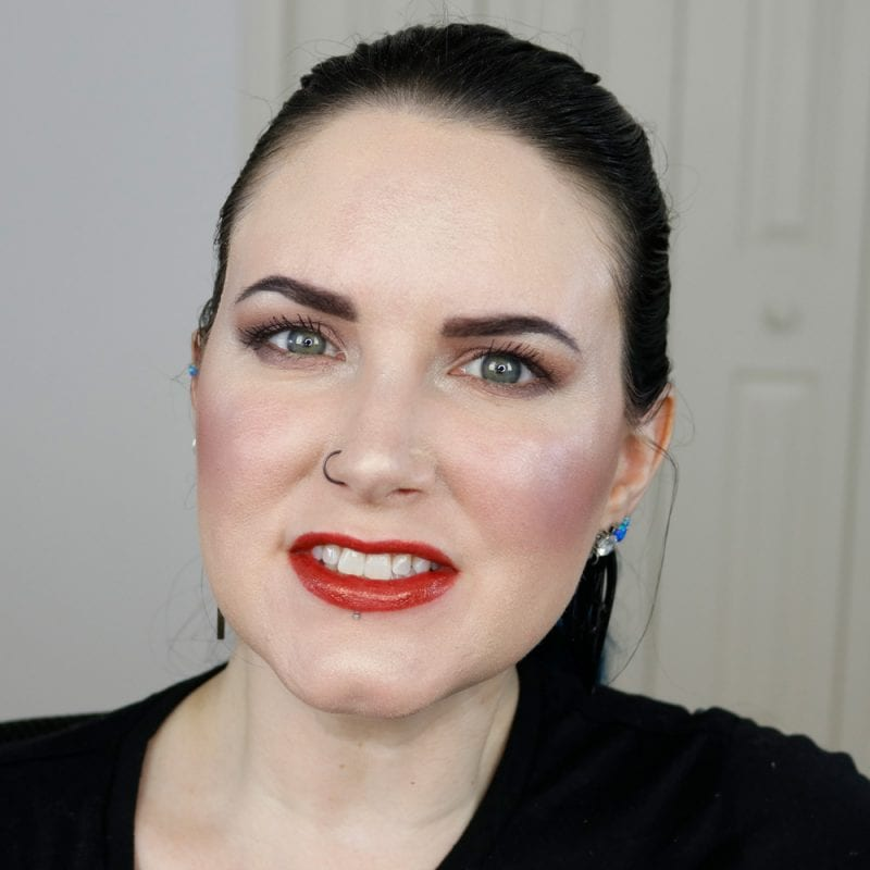 Urban Decay Naked Heat Vice Lipstick in Heat swatched on fair skin