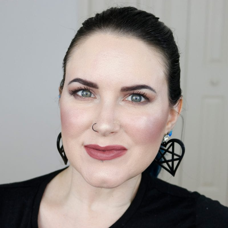 Urban Decay Vice Lipstick in Hideaway swatched on fair skin