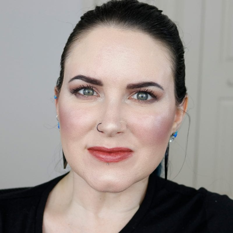 Urban Decay Vice Lipstick in Outspoken swatched on fair skin