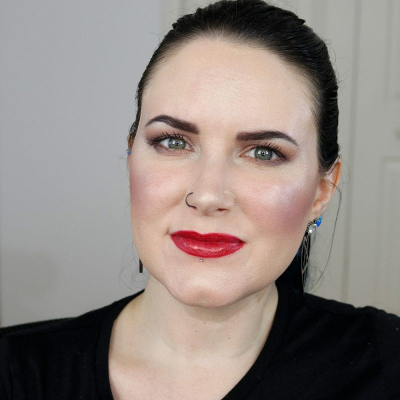 Urban Decay Naked Heat Vice Lipstick in Singe swatched on pale skin