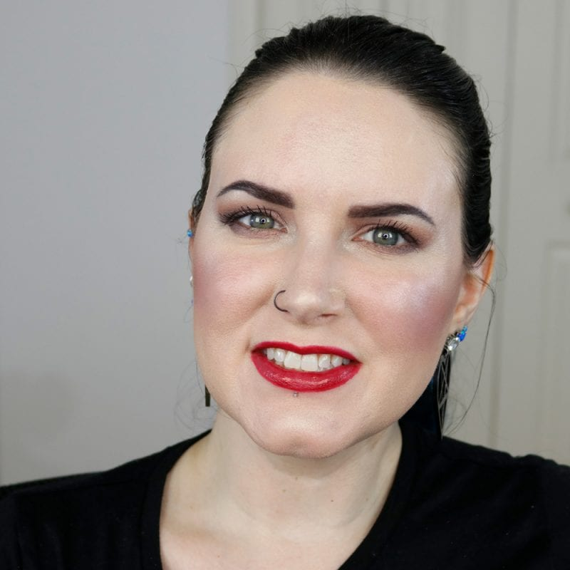 Urban Decay Naked Heat Vice Lipstick in Singe swatched on fair skin