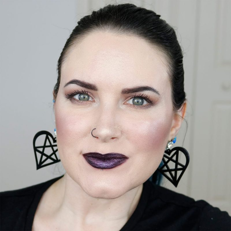 Urban Decay Vice Lipstick in Voodoo swatched on fair skin