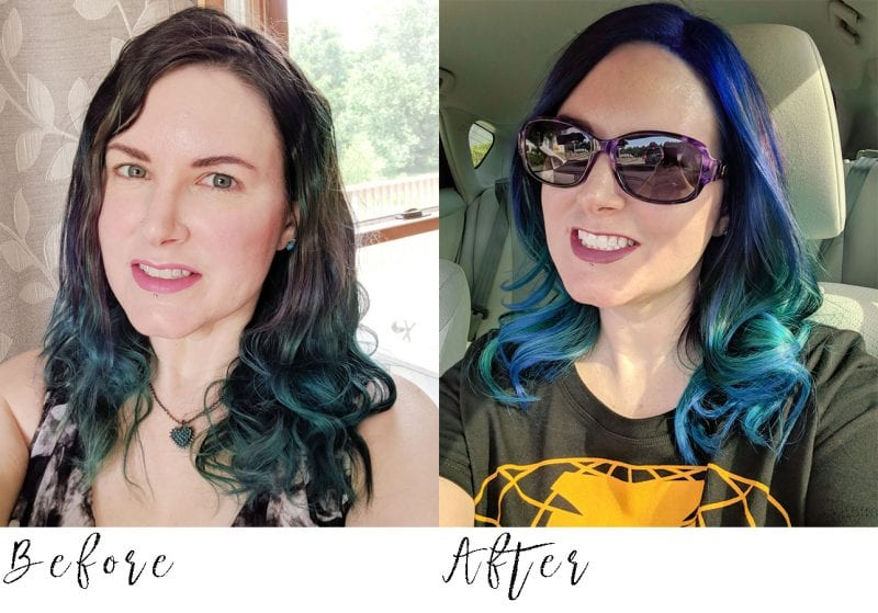 Before and After with Pulp Riot Nirvana Hair Dye