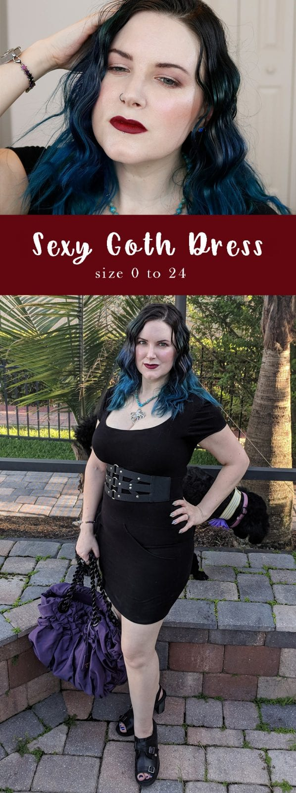 Goth Dress - An affordable, sexy dress available in size 0 to 24, custom made to your measurements. And did I mention it has pockets? #goth #gothicfashion #plussize