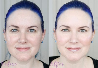 Before and After with Nudestix Nudies Tinted Blur Stick in Light 1 on fair skin
