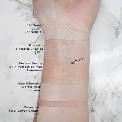Nudestix Nudies Tinted Blur Stick Comparison Swatches