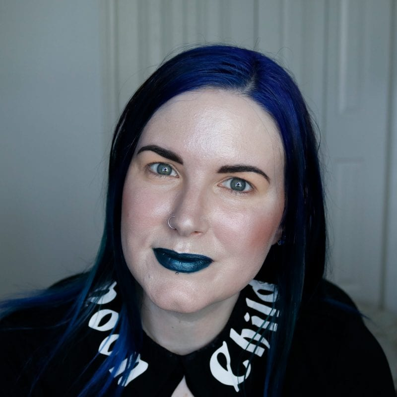 Wearing Too Faced the Real Teal on pale skin