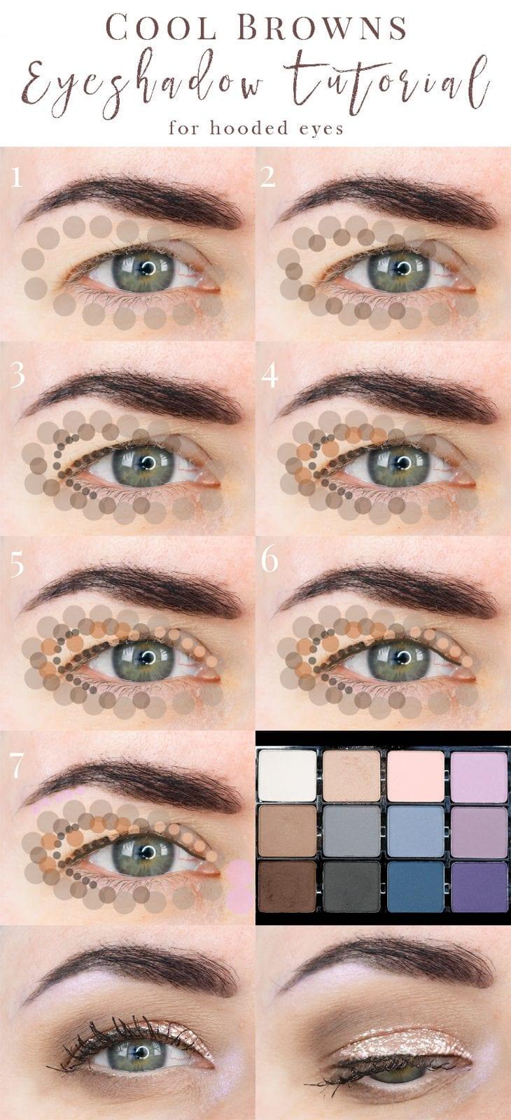 cool browns eyeshadow tutorial great for hooded eyes