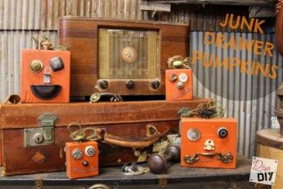 DIY Halloween Fun and Funky Junk Drawer Pumpkins by Diva of DIY