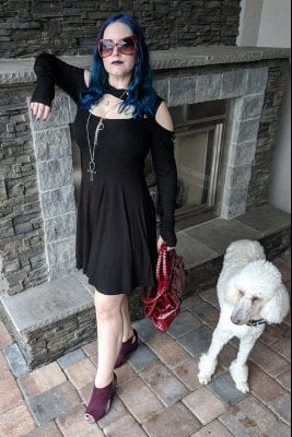 Courtney is wearing her Fall Goth Hooded Dress with her companion Phaedra