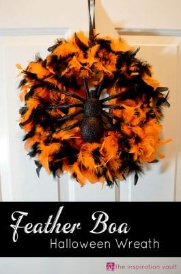 DIY Halloween Wreaths - Feather Boa Halloween Wreath