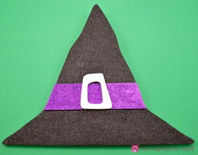 DIY Glittered Witch Hat Halloween Decor by the Inspiration Vault