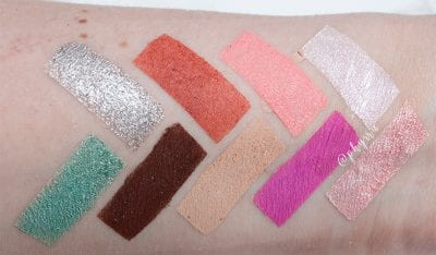 Juvia's Place the Douce Palette swatches on pale skin