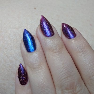 Fun Lacquer Cheers to the Holidays (H) with an accent of KBShimmer Royal to a Fault