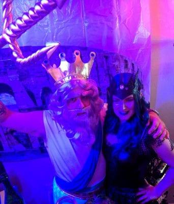 Mike dressed up as Poseidon