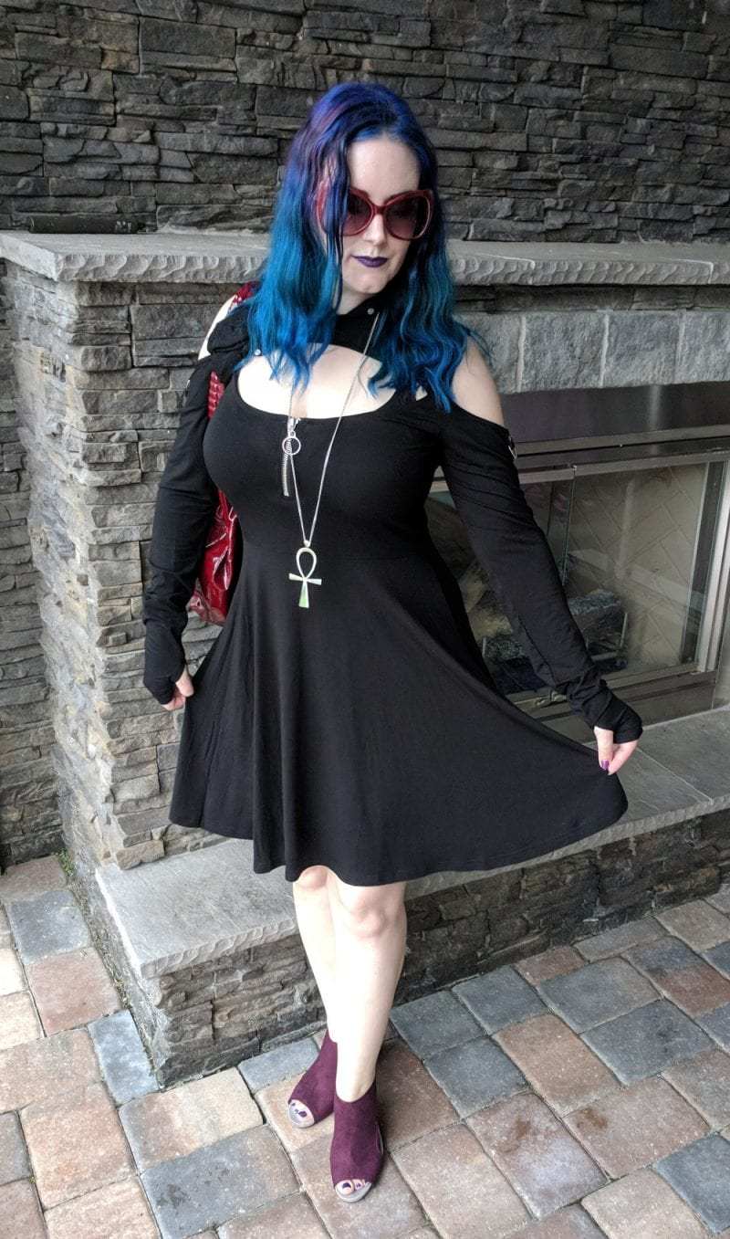 Fall Goth Hooded Dress with burgundy boots