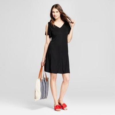 Tie-Shoulder Knit Swing Dress