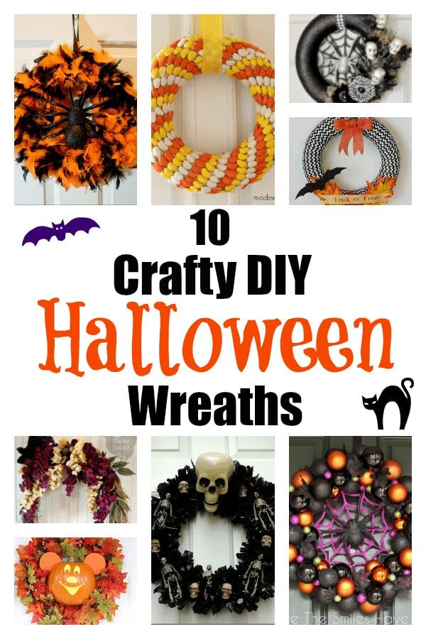 10 Crafty DIY Halloween Wreaths - I love Halloween! I've rounded up some of the best diy halloween decorations for you to try!