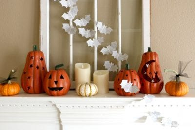 Book Page Bats on a Halloween Mantel by Dukes and Duchesses